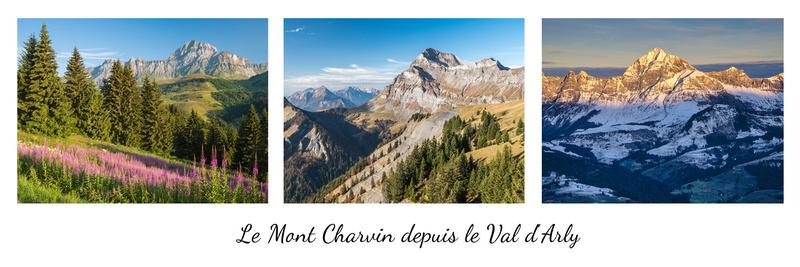 Le Mont Charvin depuis le Val d'Arly (triptyque avec titre)